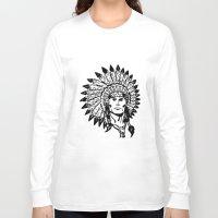 headdress Long Sleeve T-shirts featuring Headdress by Gregg Deal