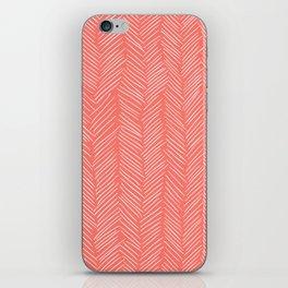 Living Coral Herringbone Happiness iPhone Skin