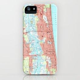 Jacksonville Beach and Atlantic Beach Florida Map iPhone Case