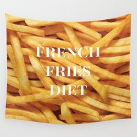fries Wall Tapestries featuring French Fries Diet by Coconuts & Shrimps