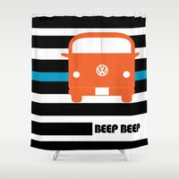 vw bus Shower Curtains featuring VW Bus by see BOLD