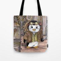 engineer Tote Bags featuring Penguin Engineer by Tanya Davis Art