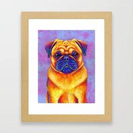 Colorful Rainbow Pug Portrait Framed Art Print