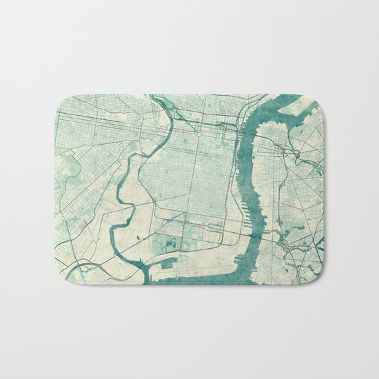 Philadelphia Map Blue Vintage Bath Mat