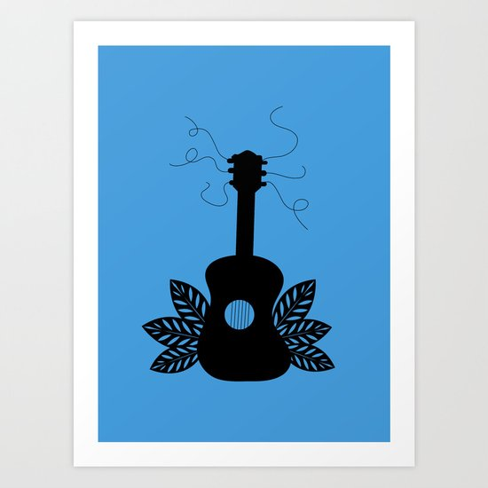 Black Guitar Art Print