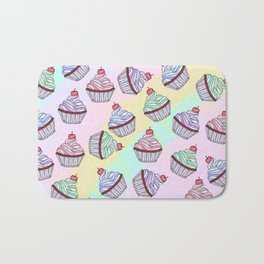 Cute Colorful Rainbow Foodie Cherry Cupcakes Bath Mat