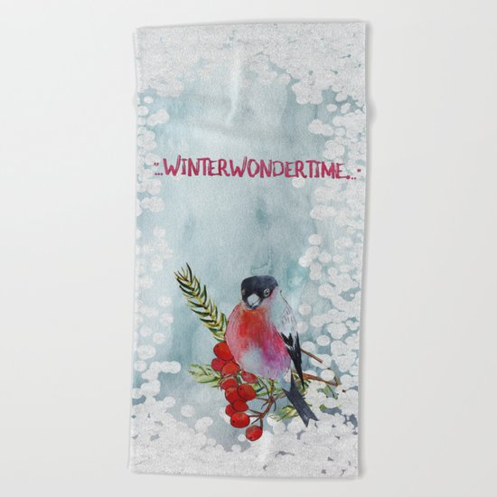 Winter Wondertime - Merry christmas- Little finch on branch-covered with snow Beach Towel