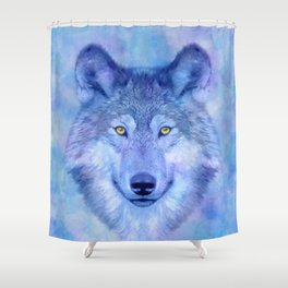 Sky blue wolf with Golden eyes Shower Curtain