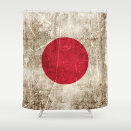 Vintage Aged and Scratched Japanese Flag Shower Curtain