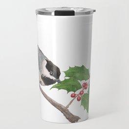 Chickadee and American Holly Travel Mug