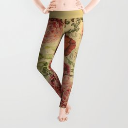 Vintage bohemian floral bird cage collage Leggings