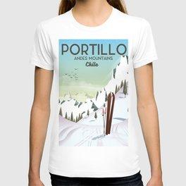 Portillo Ski Chile Ski travel poster. T-shirt