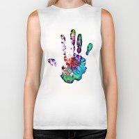 hippie Biker Tanks featuring Hippie Hand by Alyssa Barclay