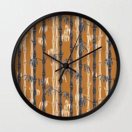 Bamboo Forest Pattern - Rust Tan Blue Wall Clock
