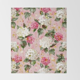 Vintage green pink white bohemian hortensia flowers Throw Blanket