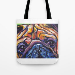 Fun Pug Dog Portrait bright colorful Pop Art by Lea Tote Bag