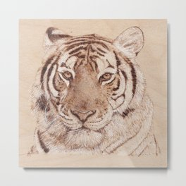 Bengal Tiger Portrait - Drawing by Burning on Wood - Pyrography art Metal Print