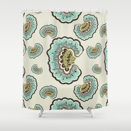 Fanned Feather Black Pattern Shower Curtain