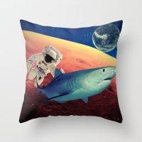 shark Throw Pillows featuring Shark by Cs025