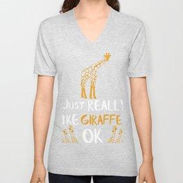 Giraffe Gift I Just Really Like Giraffes Zoo Giraffe Lovers Unisex V-Neck