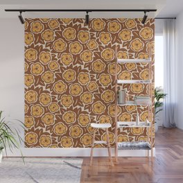 Flower Bouquet Pattern Brown and Yellow Ochre Wall Mural