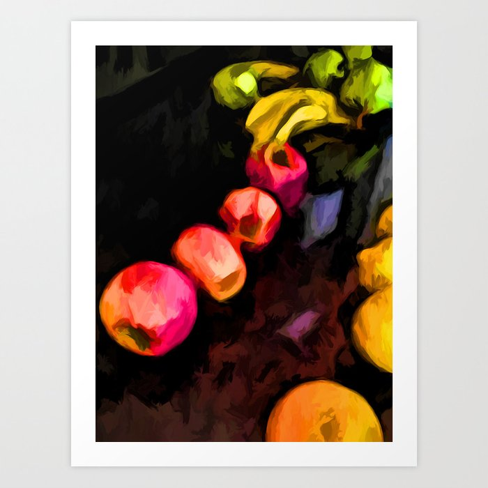 Still Life of Pink Apples in a Curve Art Print