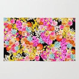 Bright Summer Vintage Inspired Floral Print on Black Rug