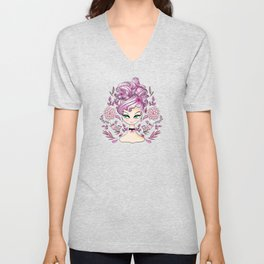 Strawberry Curls On A Green Eyed Girl Unisex V-Neck