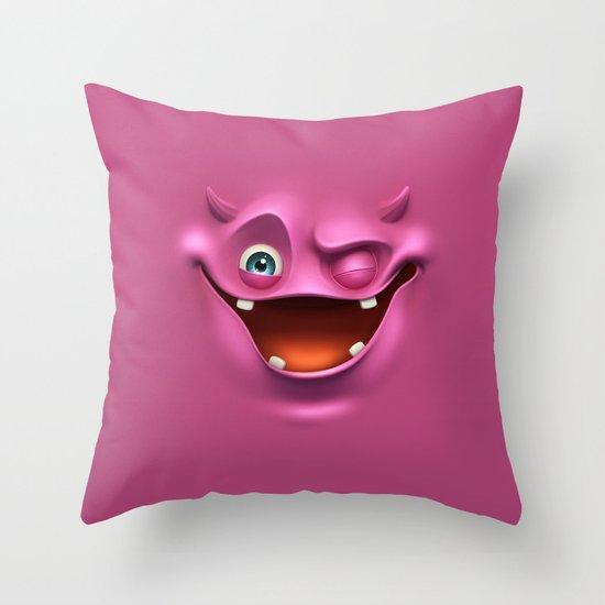 Winking face Throw Pillow
