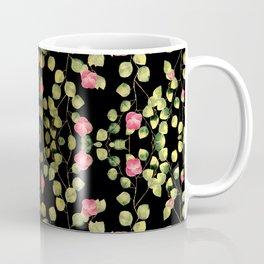 """""""Spring pink flowers and leaves - Black"""" Coffee Mug"""