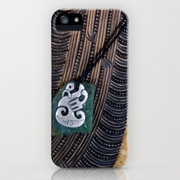 NZ Maori Culture Theme - Metal Manaia And Patu iPhone Case