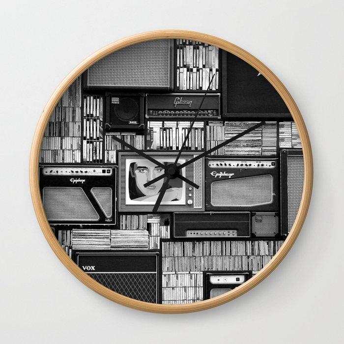 Vintage Guitar Amplifiers Art Wall Clock