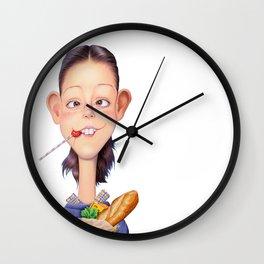 A girl holding a shopping paper bag Wall Clock