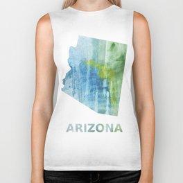 Arizona map outline Blue green colored wash drawing Biker Tank