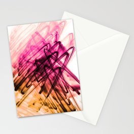 Deep Cerise and Sunburnt Abstract Fluid Lines Stationery Cards