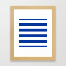 Dark Princess Blue and White Wide Horizontal Cabana Tent Stripe Framed Art Print