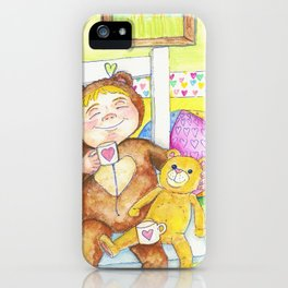 Teddybear tea-time iPhone Case