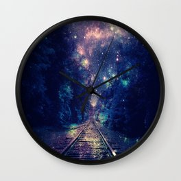 "Dream Train Tracks : ""Next Stop, Anywhere"" Wall Clock"