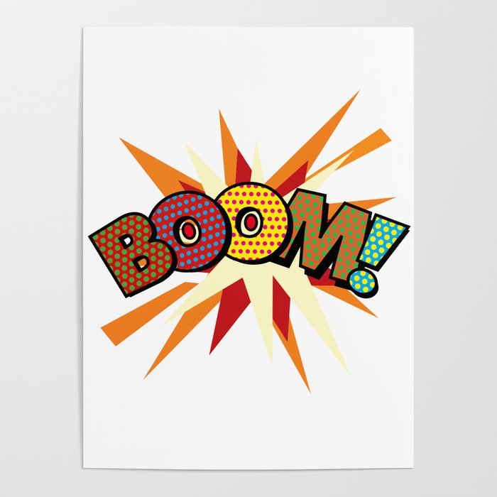 BOOM Comic Book Modern Pop Art Typographic Fun Graphic Poster