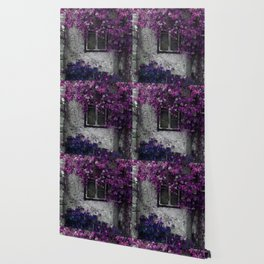 Purple Floral Orchid Vines, Window and Gray Stone Wallpaper