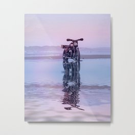 Where the Journey  begins Motorcycle at the Water Sunset Metal Print