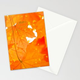Fall Orange Maple Leaves On A White Background #decor #buyart #society6 Stationery Cards