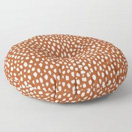 Burnt Orange Spots (white/burnt orange) Floor Pillow