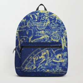 Yellow on Blue Infinity Vintage Astrology Star Map Backpack