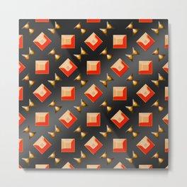 Pattern of squares and diamonds in orange Metal Print