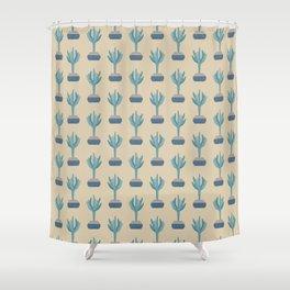 Saguaro cactus in a basket planter Shower Curtain