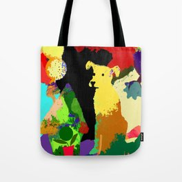 Dog with Abstract Background Tote Bag