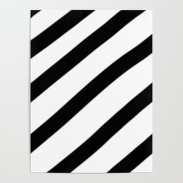 Soft Diagonal Black and White Stripes Poster