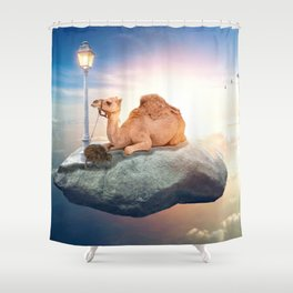 Kiwi and camel riding on a rock in the sky by GEN Z Shower Curtain