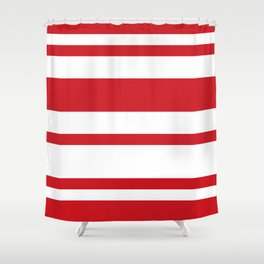 Mixed Horizontal Stripes - White and Fire Engine Red Shower Curtain